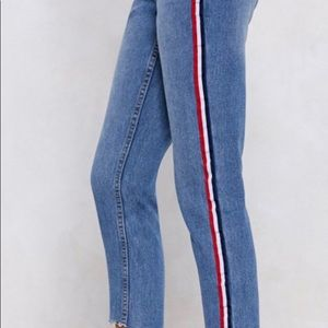 Stripe High-Waisted Jean